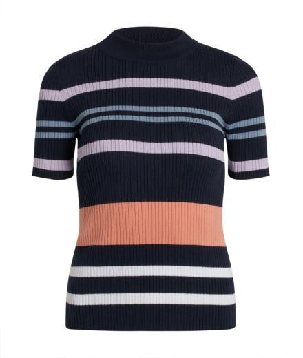 Knowledge Cotton Apparel Susan High Neck Knit Top Total Eclipse
