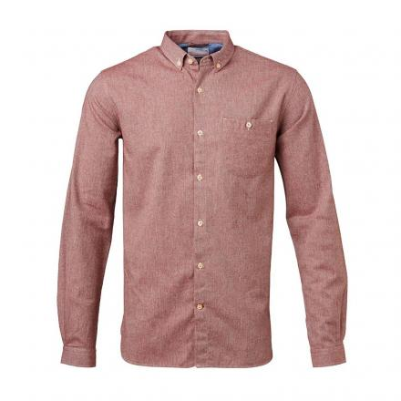 Knowledge Cotton Apparel Solid Col. Flanel Shirt - GOTS Madder Brown | L