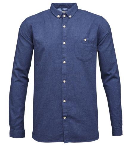 Knowledge Cotton Apparel Solid Col. Flanel Shirt - GOTS Estate Blue | L
