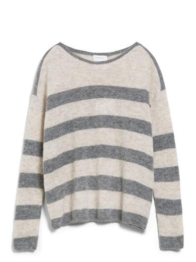 ARMEDANGELS Anaa fine stripes Light Caramel Melange-Frozen Mid Grey
