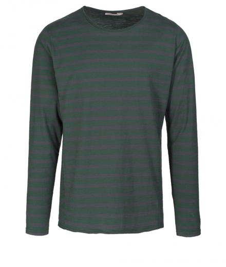 ARMEDANGELS Adrian Stripes dark green-acid black | L