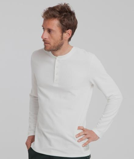Thinking MU Waffle Brad L/S T-Shirt snow white L