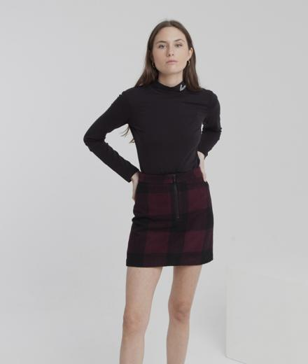 Thinking MU Mary Short Skirt wine checks L