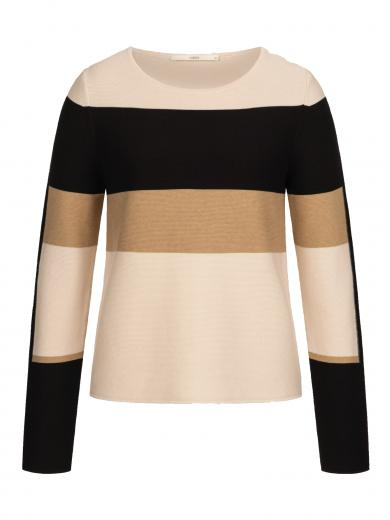 LANIUS Pullover mit Colourblock Powder/Black