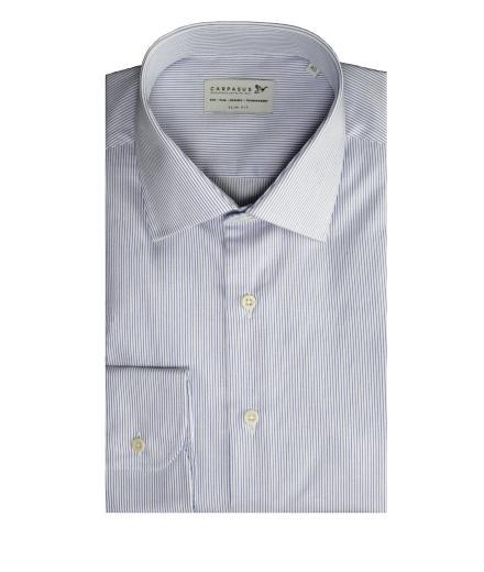 CARPASUS Hemd Classic Slim Fit blau gestreift