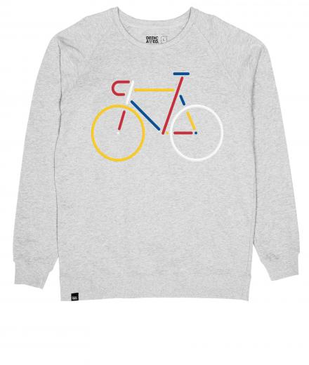 DEDICATED Men Sweatshirt Malmoe Color Bike grey melange | M