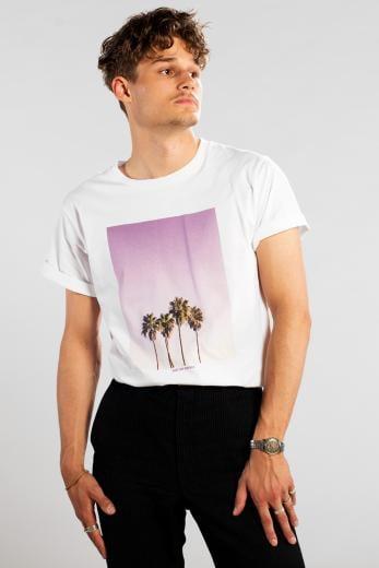 DEDICATED T-Shirt Stockholm Purple Palms White