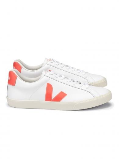 VEJA Esplar Logo Leather Extra White Orange Fluo