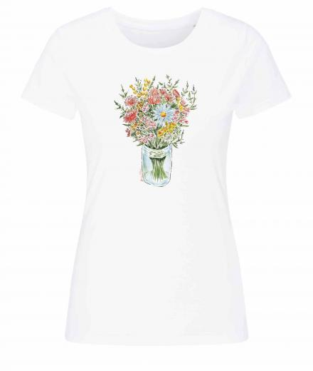 Frauen T-Shirt Casual #BOUQUET white | M