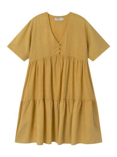 Thinking MU Hemp Fresia Dress Mustard