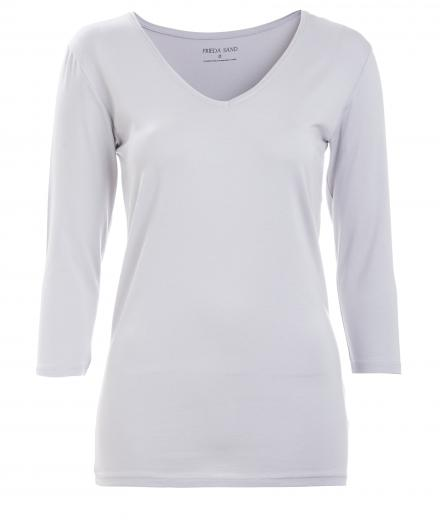 FRIEDA SAND Kahlo V-Neck Top 3/4 Lunar Rock | S
