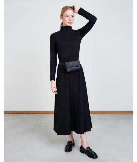 JAN 'N JUNE Turtleneck Kleid Rory Rib black