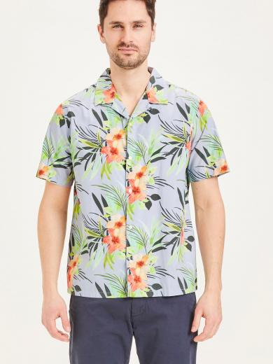 Knowledge Cotton Apparel WAVE cuban collar poplin shirt asley blue