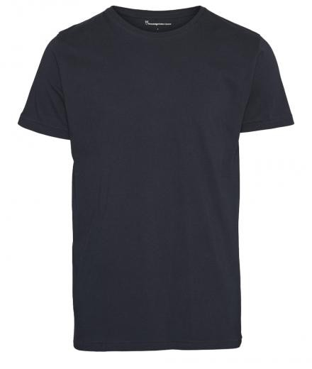 Knowledge Cotton Apparel Basic Regular Fit O-Neck Tee Total Eclipse   L