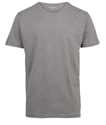 Knowledge Cotton Apparel Basic Regular Fit O-Neck Tee grey melange | S