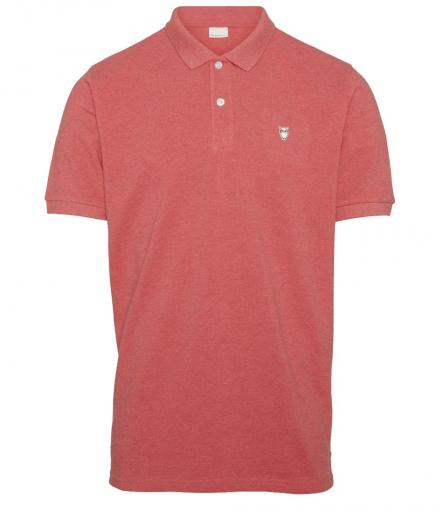 Knowledge Cotton Apparel Pique Polo GOTS Coral Melange | M