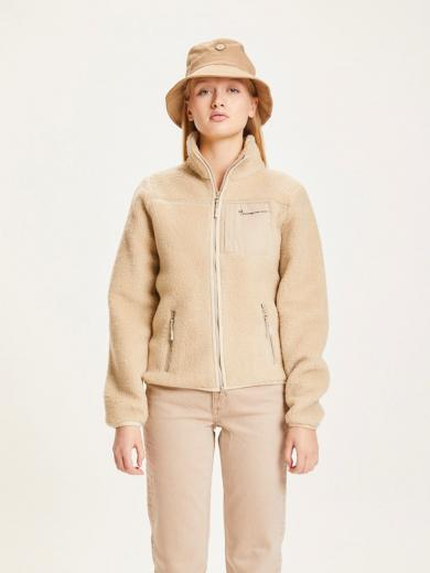 Knowledge Cotton Apparel BETONY Teddy High Neck Zip Jacket kamel