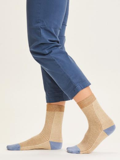 Knowledge Cotton Apparel Diane colorblock rib socks incense | 35-38