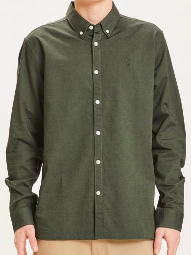 Knowledge Cotton Apparel Elder regular fit small owl oxford shirt green forest