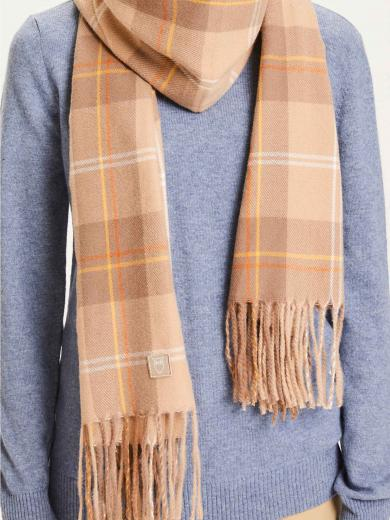 Knowledge Cotton Apparel Madeline Woven Scarf braun