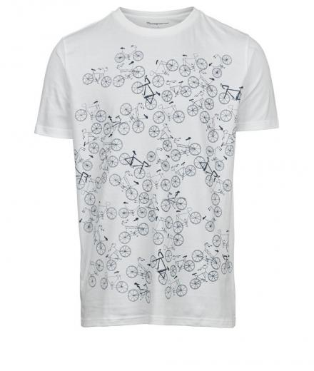 Knowledge Cotton Apparel T-shirt with bike front print – GOTS Bright White | M