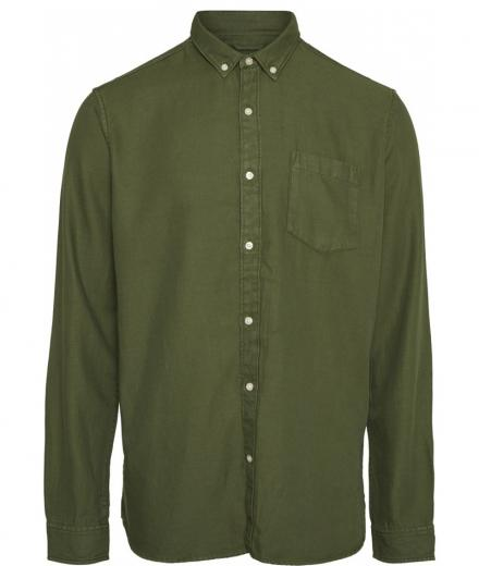 Knowledge Cotton Apparel LARCH LS Tencel Shirt green forest