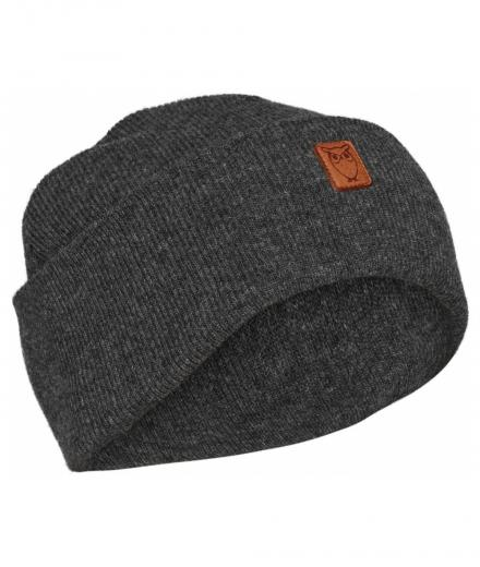 Knowledge Cotton Apparel Beanie organic wool Dark Grey Melange
