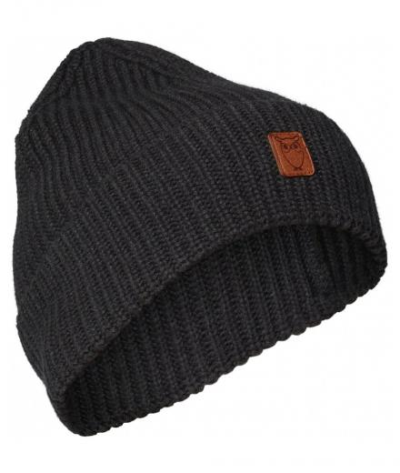 Knowledge Cotton Apparel LEAF ribbing hat  dark grey melange | onesize