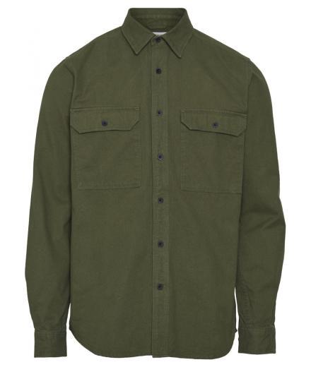 Knowledge Cotton Apparel Long Sleeve Moleskin Shirt green forest - GOTS/Vegan L