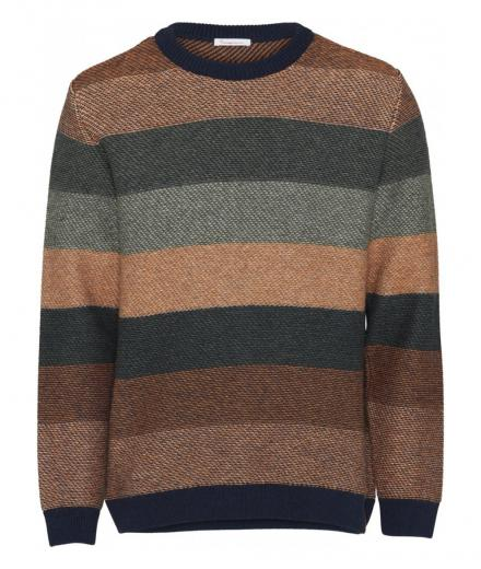 Knowledge Cotton Apparel Multi colored striped o-neck knit