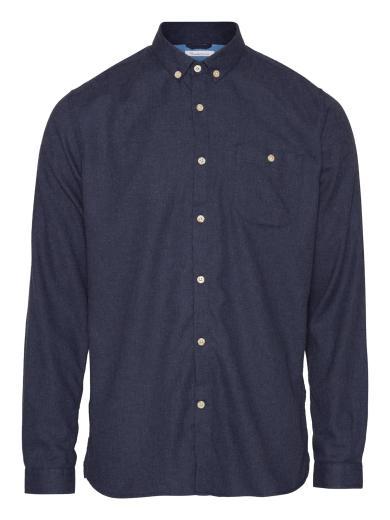 Knowledge Cotton Apparel ELDER regular fit melange flannel shirt Estate Blue