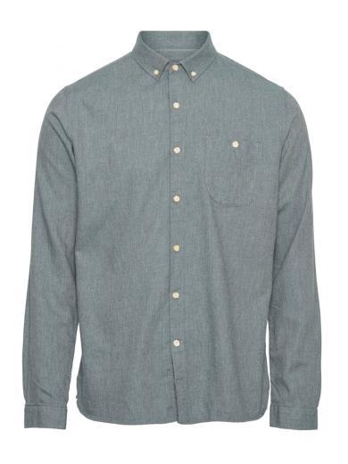 Knowledge Cotton Apparel ELDER regular fit melange flannel shirt green forest