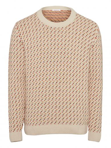 Knowledge Cotton Apparel Valley jacquard o-neck knit Rust