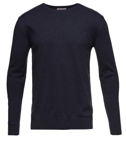 Knowledge Cotton Apparel Basic O-Neck Cotton/Cashmere - GOTS Total Eclipse | L