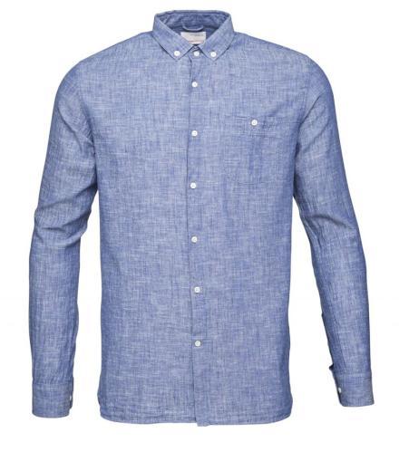 Knowledge Cotton Apparel Cotton/Linen Shirt Turkish Sea | M
