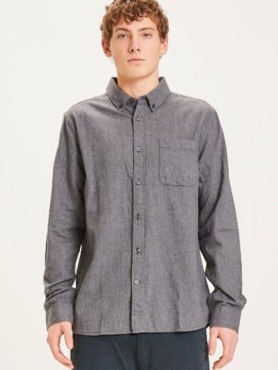 Knowledge Cotton Apparel ELDER regular fit melange flannel shirt Dark Grey Melange
