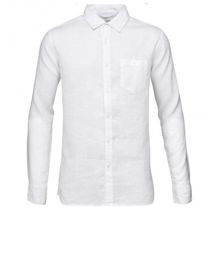 Knowledge Cotton Apparel Fabric Dyed Linen Shirt Bright White | L