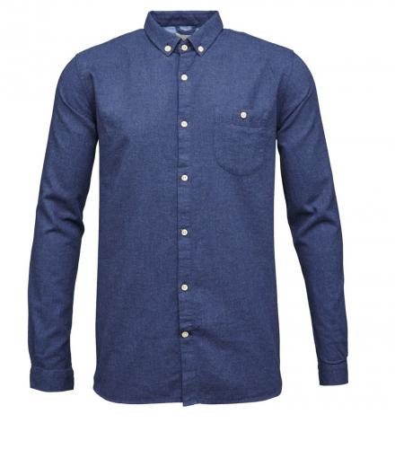 Knowledge Cotton Apparel Solid Col. Flanel Shirt - GOTS Estate Blue | L