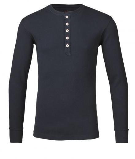 Knowledge Cotton Apparel Rib Knit Henley Total Eclipse