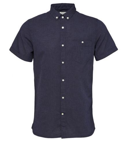 Knowledge Cotton Apparel Short Sleeved Cotton/Linen Shirt