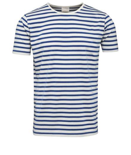 Knowledge Cotton Apparel Single Jersey Yarndyed Striped T-Shirt Turkish Sea | M