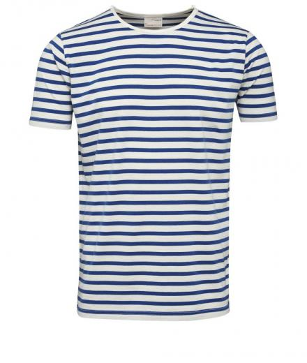 Knowledge Cotton Apparel Single Jersey Yarndyed Striped T-Shirt Turkish Sea | L