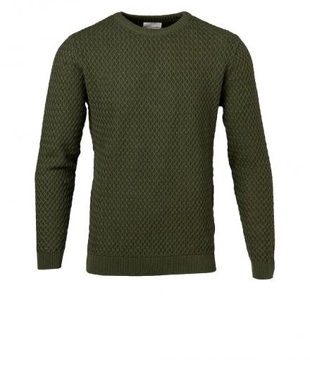 Knowledge Cotton Apparel Small Diamond Knit rifle green | XL