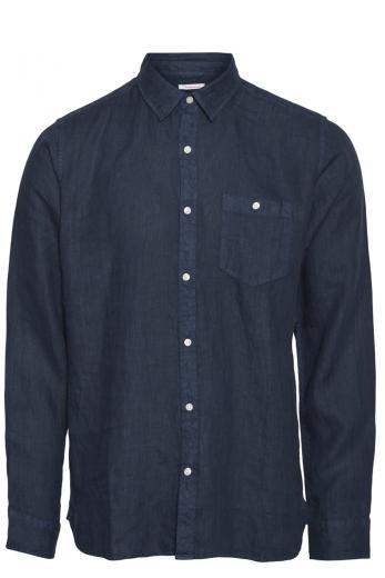 Knowledge Cotton Apparel LARCH LS linen shirt Total Eclipse