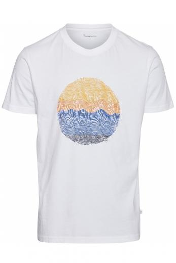 Knowledge Cotton Apparel ALDER wave tee Bright White | S