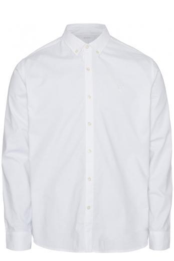Knowledge cotton Apparel ELDER LS small owl oxford shirt bright white