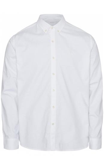 Knowledge cotton Apparel ELDER LS small owl oxford shirt bright white