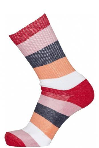 Knowledge Cotton Apparel LINDEN block striped 2 pack sock scarlet | 38-42