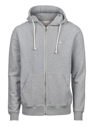 Knowledge Cotton Apparel ELM small owl zip hoodie sweat grey melange | M