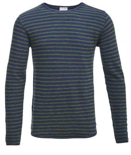 Knowledge Cotton Apparel Sweat Striped Rifle Green